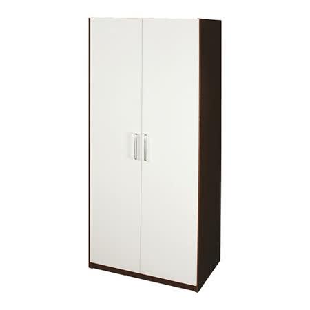Bernice-2.7尺防水防蛀塑鋼雙吊衣櫃(胡桃白)