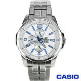CASIO EDIFICE系列落直紋三環鋼帶腕錶 EF-343D-7A