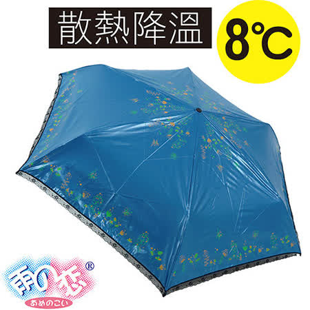 【日本雨之戀】獨家降溫8℃傘自動開收-伊甸園 [夜藍內黑] ~日本熱銷款/雨傘/降溫傘/晴雨傘