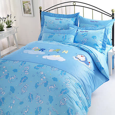 【享夢城堡】哆啦A夢 星光閃閃系列-雙人純棉四件式床包涼被組