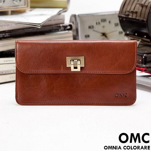 OMC ~ 韓國原皮魅力真皮典雅鈕扣6卡長夾