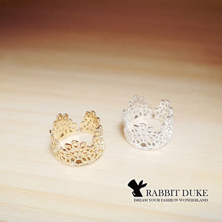 【Rabbit Duke】經典歐美風格 個性蕾絲風格皇冠設計造型戒指