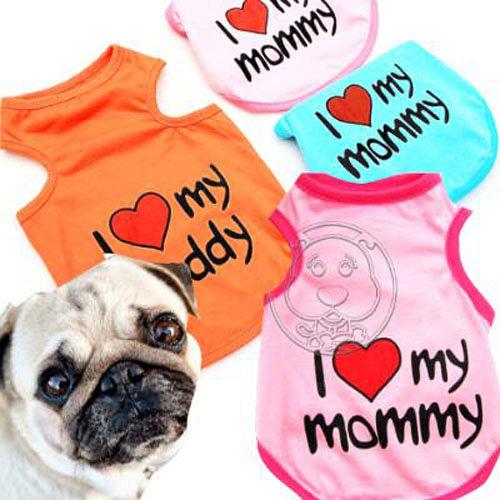 我愛媽媽~寵物清涼無袖短衫背心 粉紅色 ^(SMLXL^)