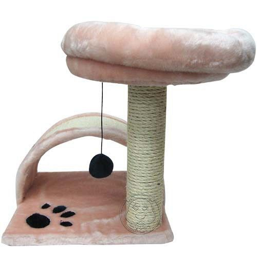 粉紅貓腳印貓跳台R220~高42cm ^(附貓咪愛玩的吊球^)