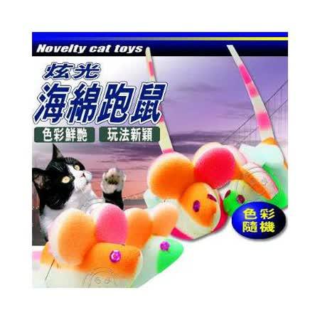 新穎逗貓玩具》LED炫光海綿貓咪玩具抓老鼠 (色彩隨機)