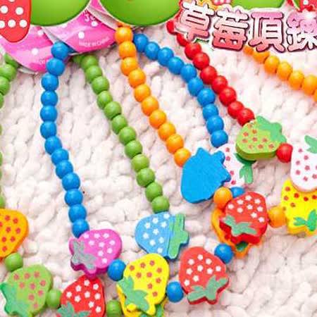 【真心勸敗】gohappy線上購物手工製作》寵物草莓糖果木珠項鍊配飾*2條 (採草莓囉)價格台北 統一 阪急