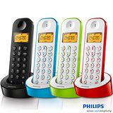 【飛利浦PHILIPS】多彩數位無線電話 D1201 (魅力黑/漾白藍/靚白紅/亮白綠)