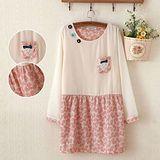 【MIDORI╭。綠】小花棉拼雪紡長袖連衣裙(FD00136)