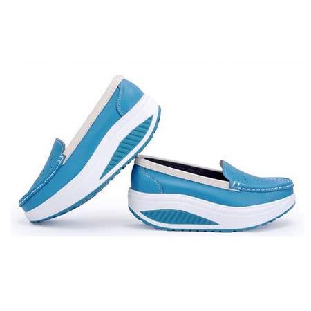 【Maya easy】藍色 雅緻純色淑女風格透氣搖擺健走鞋(鞋跟5cm高)
