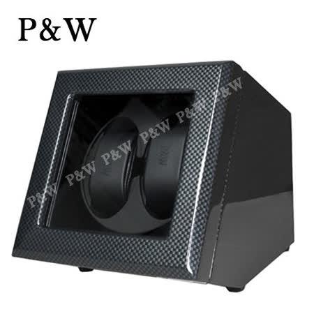 【P&W手錶上鍊盒】 【玻璃鏡面】碳纖維【鋼琴烤漆】 2支裝 四種模式 機械錶專用