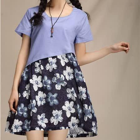 【Maya 名媛】(M~L) 紫色 夏季透氣棉麻料 短袖連衣短裙洋裝 夏季裡的春花款
