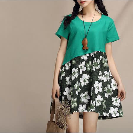 【Maya 名媛】(M~L) 綠色 夏季透氣棉麻料 短袖連衣短裙洋裝 夏季裡的春花款