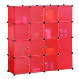 【奧克蘭】創意16格附門收納櫃-桃紅
