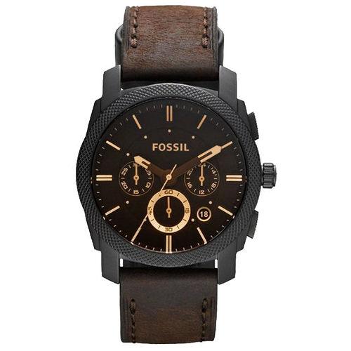 FOSSIL 星際時空三環 腕錶~金時標咖啡 FS4656