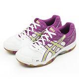 女 Asics 亞瑟士羽、排球鞋 GEL-TASK 白紫 B354N-0193