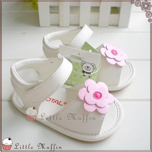 學步鞋 白底小花朵魔鬼氈 止滑膠底外出涼鞋  SMI356