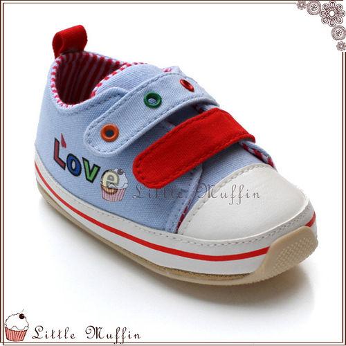 學步鞋 天藍童趣魔鬼氈 止滑膠底外出涼鞋  SMI356