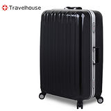 【Travelhouse】COLORS 20吋視覺享宴PC鋁框硬殼行李箱(黑)