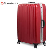 【Travelhouse】COLORS 20吋視覺享宴PC鋁框硬殼行李箱(紅)