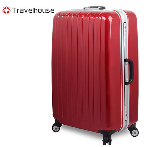 【Travelhouse】COLORS 26吋視覺享宴PC鋁框硬殼行李愛 買 新竹箱(紅)