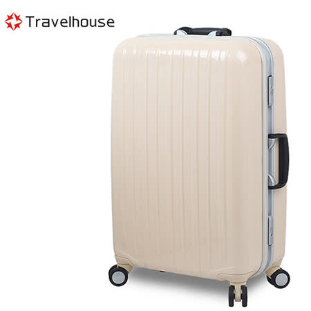 【Travelhouse】COLORS 26吋視覺享宴PC鋁框硬殼行李箱(白)