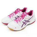 女 Asics 亞瑟士羽、排球鞋 GEL-ROCKET 7 白桃紫 B455N-0119