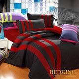【BEDDING】魔力紅 運動風活性磨毛雙人加大四件式床包被套組