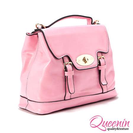 DF Queenin日韓 - 馬卡龍甜美色系學院風手提斜背2用包-共2色