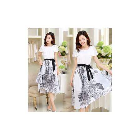 《韓國K.W.》古典.青花瓷印花雪紡洋裝