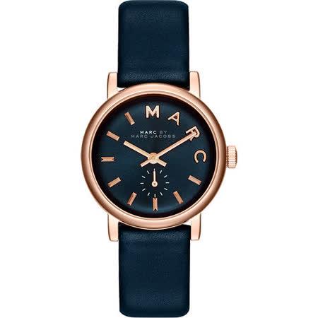 Marc Jacobs Baker 國際舞台小秒針腕錶-深藍x玫瑰金 MBM1331
