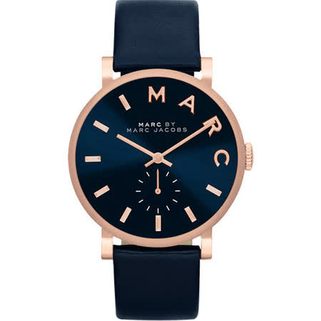 Marc Jacobs Baker 國際舞台小秒針腕錶-深藍x玫瑰金 MBM1329