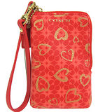 COACH 愛心塗漆PVC掛式卡夾手機包(紅)