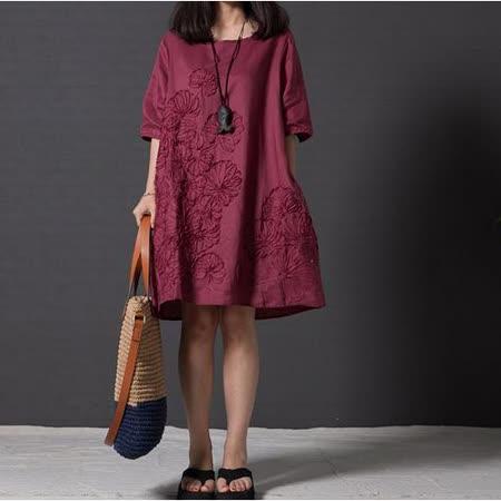 【Maya 名媛】 (S~2XL)【酒紅色】五分袖 棉麻 立體葉子圖 細緻風格 寬鬆舒適連衣裙