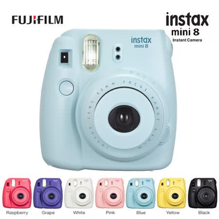 FUJIFILM instax mini 8 拍立得相機(公司貨).-送自拍鏡(顏色隨機)+雙層相本