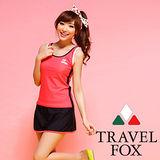 【TRAVELFOX 旅狐】甜美運動風長版三件式泳衣C14722