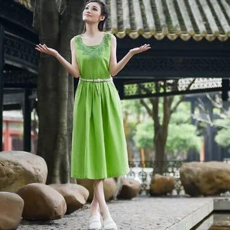 【Maya 名媛】芥綠色(s~xl) 自然棉麻 背心大裙擺 立體針織領花款長裙洋裝-附腰帶