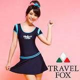 【TRAVELFOX 旅狐】休閒小包袖連身帶裙泳衣加大碼C14726-3L