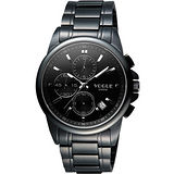 VOGUE 嶄新系列三眼計時腕錶-IP黑 9V1407-251D-S