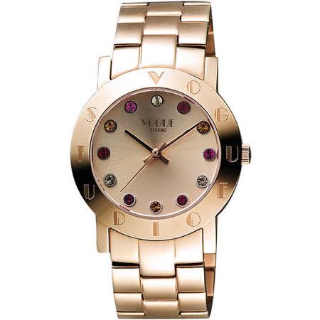 VOGUE 繽紛彩色晶鑽腕錶-玫塊金 2V1407-121RG-RG