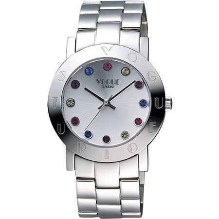 VOGUE 繽紛彩色晶鑽腕錶-銀 2V1407-121S-S