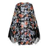 韓版限定【Sweet Dress】印花流蘇設計罩衫(黑)