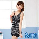 【SUMMERLOVE 夏之戀】時尚顯瘦款連身四角泳衣加大碼E14715-3L