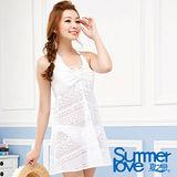 【SUMMERLOVE 夏之戀】高雅款連身裙三件式泳衣E14720-白F
