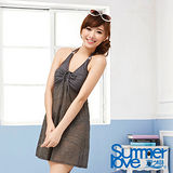 【SUMMERLOVE 夏之戀】高雅款連身裙三件式泳衣E14720-灰