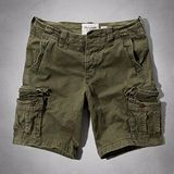 【A & F】2014男時尚休閒多口袋橄欖綠短褲【預購】