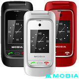 摩比亞 MOBIA M300+ 折疊式雙螢幕2G+3G雙卡 老人手機 (全配包 贈電池+手機座充)