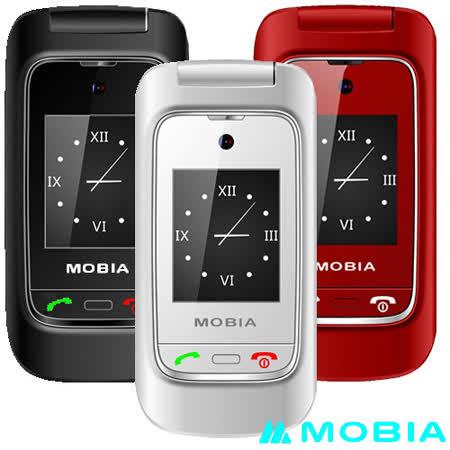 摩比亞 MOBIA M300+ 折疊式雙螢幕2G+3G雙卡 老人手機-贈手機保護套