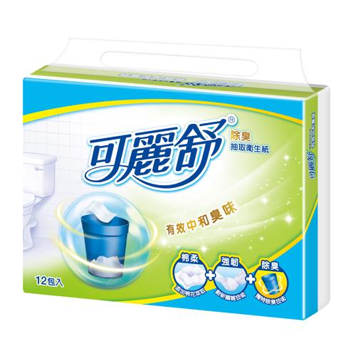 可麗舒除臭抽取式衛生紙100抽^~12包