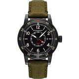 BURBERRY Utilitarian 系列GMT 二地時區腕錶-黑x軍綠錶帶 BU7855