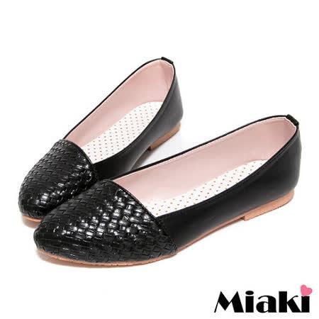 (現貨+預購) 【Miaki】MIT 輕底舒適編織拼接造型平底包鞋娃娃鞋 (黑色)